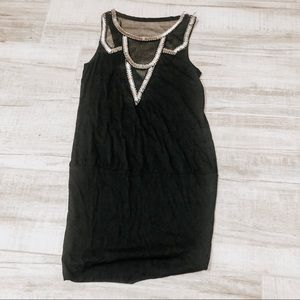 Black and silver embroidered tunic stretchy top